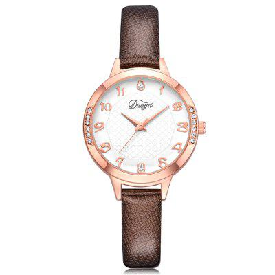 DUOYA D222 Women Arabic Numerals Leather Quartz Watch with Artificial Diamonds