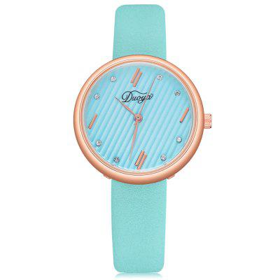 DUOYA D223 Women Simple Rose Gold Bezel PU Leather Wrist Watch