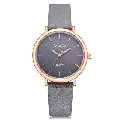 DUOYA D224 Women Classic PU Leather Band Wrist Watch in Lines Display