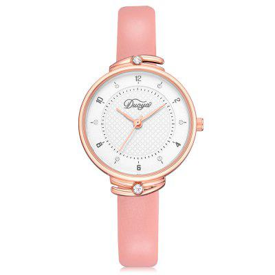 DUOYA D225 Women Creative PU Leather Wrist Watch with Artificial Diamonds