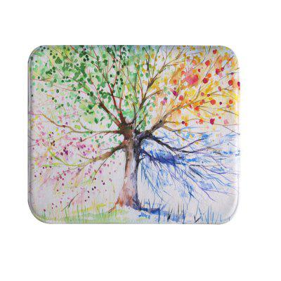 Ink Colorful Tree Super Soft Non-Slip Bath Door Mat Machine Washable Quickly Dry
