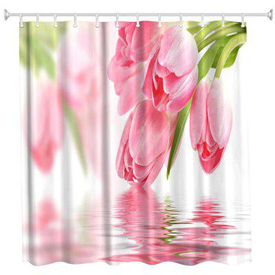 Tulip in Water Water-Proof Polyester 3D Printing Bathroom Shower Curtain