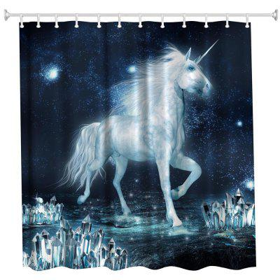 The Unicorn on The Ice Water-Proof Polyester 3D Printing Bathroom Shower Curtain