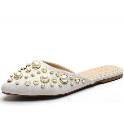 Pointed Beads No Toes Flat Shoes