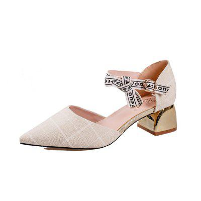 Plaid Fabric Pointed Blocked Heel Shoes