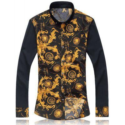 2018 New Large Size Trend Buckle Men's Casual Long-sleeved Floral Shirt
