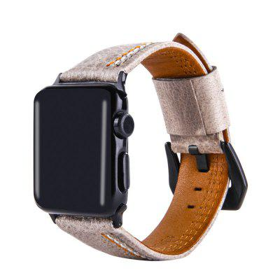 Leather Iwatch Strap Replacement Band for Apple Watch Series 3 / 2 / 1 38MM top layer genuine leather watchband 22 23 24mm for couturier t035 replacement watch band steel butterfly clasp wrist strap black