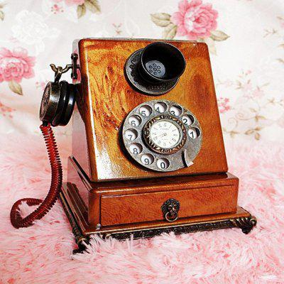 Retro Clock Model Home Furnishing Telephone with Ornaments