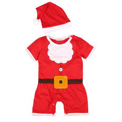 Baby Clothes Set Short Sleeve Red  Santa Claus Jumpsuit + Hat