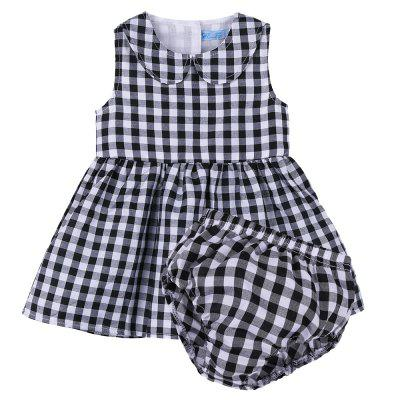 Baby Girl Clothes Sleeveless Plaid Dress + Shorts Suit