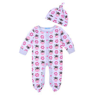 Baby Clothes Aniamal Print Jumpsuit+ Hat