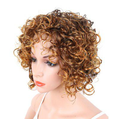 Short Curly Blonde Mix Heat Resistant Fiber Synthetic Hair Wig for White Women women s short wigs curly layered hair wig for women