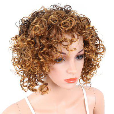 Short Curly Blonde Mix Heat Resistant Fiber Synthetic Hair Wig for White Women