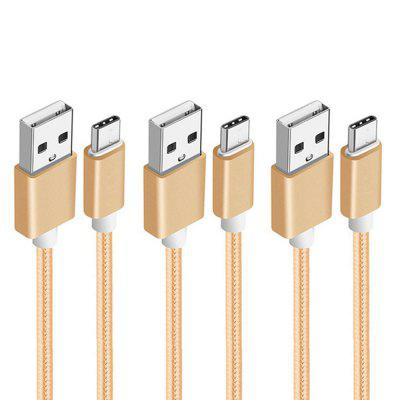 3 Pack Smart 1M Nylon Braided Charging USB Charger Type-C Data Cable braided usb type c data sync charging cable 120cm