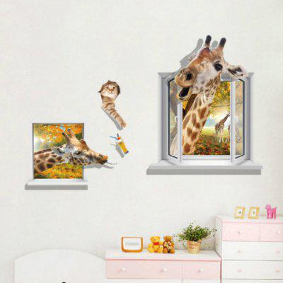Giraffe 3D Wall Stickers Living Room Decoration doubchow adults womens mens teenages kids boys girls cartoon animal hats cute brown bear plush winter warm cap with paws gloves page 7