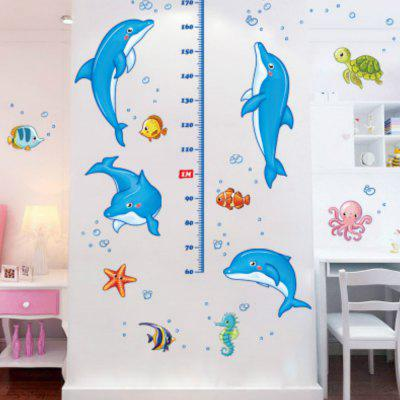 Cartoon Dolphin Height Removable Wall Sticker room decor cartoon height measure tree wall sticker