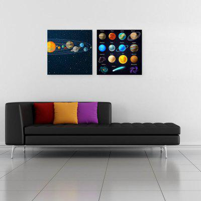 W190 Planets Unframed Wall Canvas Prints for Home Decorations 2 PCS the planets