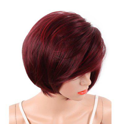 White Women Short Bob Style Red Two Tone Color Natural Synthetic Hair Full Wig