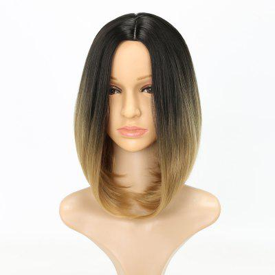 Straight Short Bob Hair Light Blonde Ombre Synthetic Wig for European Girls