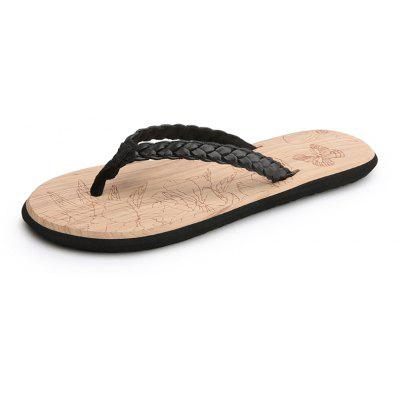 Summer Female Models Wood Grain Flip-Flops Beach Non Slip Slippers