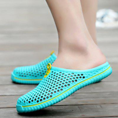 Men Breathable Hollow Out Slip On Flat Beach Slippers Shoes ladies slippers summer genuine leather linen woven breathable home indoor non slip slippers 2018 new hot haisum tb010
