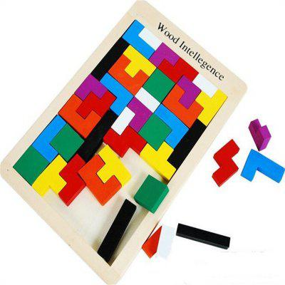 Children Puzzle Toys Tetris Wooden Puzzle Classic Building Blocks abbyfank 240 pcs rainbow domino blocks wooden building colored learning educational toys wood dominos bricks gift for children