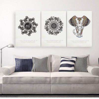 W199 Bohemia Elephant Unframed Art Wall Canvas Prints for Home Decorations 3 PCS