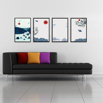 W200 Chinese Style Unframed Canvas Prints with Printing Black Border 4 PCS
