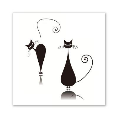 W207 Black Cats Unframed Wall Canvas Prints for Home Decorations 3 PCS