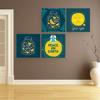W209 Cute Good Night Unframed Wall Canvas Prints for Home Decorations 4 PCS 1 pcs 50x35mm undrilled malachite gemstone egg crystal sphere health massage ball healing chark home decor cute eggs as gifts