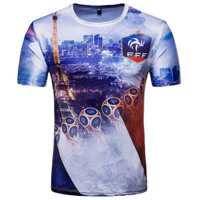 Buy French Men's Short-Sleeved Printed T-Shirts, DEEP BLUE, L, Apparel, Men's Clothing, Men's T-shirts, Men's Short Sleeve Tees for $12.95 in GearBest store