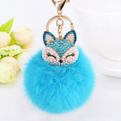 Cute Fox Bobbles Fur Ball Rhinestone Keychain Bag Car Ring Keyring mini motorcycle helmet keychain cute keyring