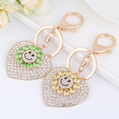 Sun Heart Keychain Rhinestone Key Ring Women Bag Accessories With Smile Face Key u pick new design backpack tpu transparent bag lovely smile face school bag