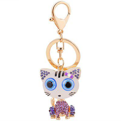 Cat Keychain for Women Cute Animal keychains Resin Crystal Pendant Key Ring Hold