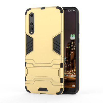 Case for Huawei P20 Pro Shockproof Solid Color Hard PC with Stand Back Cover -  GOLD