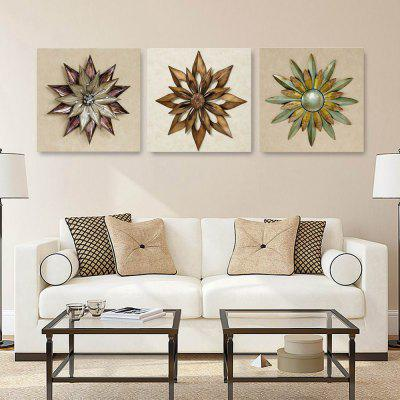 W211 3D Abstract Flower Unframed Art Canvas Prints for Home Decorations 3 PCS