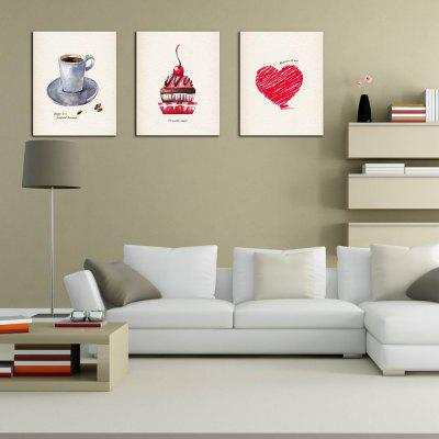 W215 Coffee and Cake Unframed Art Wall Canvas Prints for Home Decorations 3 PCS