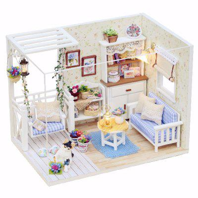 1/24 Dollhouse Miniature DIY Kit with LED Light Cover Wood Toy Doll House Room