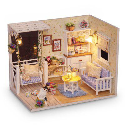 1/24 Dollhouse Miniature DIY Kit with LED Light Cover Wood Toy Doll House Room diy wooden model doll house manual assembly house miniature puzzle handmade dollhouse birthday gift toy pandora love cake