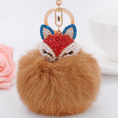 Real Rabbit Fur Ball with Artificial Fox Head Inlay Pearl Rhinestone Key Chain raglaido fur hat with fox ears diamond russian winter hats for women rex rabbit fur snow caps genunie natural fur beanie lq11222