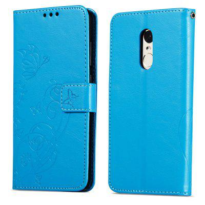 Embossed Flip Case for Xiaomi Redmi Note 4 / Note 4X PU Leahter Back Cover -  BLUE
