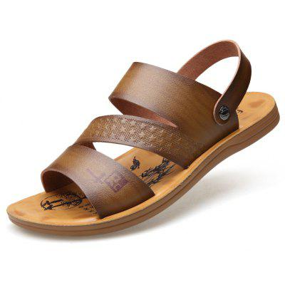 MUHUISEN Men Fashion Summer Soft Leather Beach Sandals