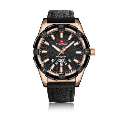 NAVIFORCE Luxury Brand Men's Quartz Fashion Casual Leather Sports Watch -  NIGHT