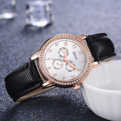 DISU DS074 Women Casual PU Leather Band Wrist Watch for DressingWomens Watches<br>DISU DS074 Women Casual PU Leather Band Wrist Watch for Dressing<br><br>Band material: PU Leather<br>Band size: 23.5 x 1.7 CM<br>Case material: Alloy<br>Clasp type: Pin buckle<br>Dial size: 3.4 x 3.4 x 0.7 CM<br>Display type: Analog<br>Movement type: Quartz watch<br>Package Contents: 1 x Watch<br>Package size (L x W x H): 25.00 x 5.00 x 1.00 cm / 9.84 x 1.97 x 0.39 inches<br>Package weight: 0.0280 kg<br>Product size (L x W x H): 23.50 x 3.40 x 0.70 cm / 9.25 x 1.34 x 0.28 inches<br>Product weight: 0.0270 kg<br>Shape of the dial: Round<br>Watch mirror: Mineral glass<br>Watch style: Jewellery, Childlike, Classic, Fashion, Casual<br>Watches categories: Women,Female table<br>Water resistance: No