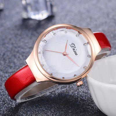 DISU DS077 Women Analog Quartz Small PU Leather Watch with Flowers DialWomens Watches<br>DISU DS077 Women Analog Quartz Small PU Leather Watch with Flowers Dial<br><br>Band material: PU Leather<br>Band size: 21.5 x 1 CM<br>Case material: Alloy<br>Clasp type: Pin buckle<br>Dial size: 3.5 x 3.5 x 0.7 CM<br>Display type: Analog<br>Movement type: Quartz watch<br>Package Contents: 1 x Watch<br>Package size (L x W x H): 22.00 x 5.00 x 1.00 cm / 8.66 x 1.97 x 0.39 inches<br>Package weight: 0.0280 kg<br>Product size (L x W x H): 21.50 x 3.50 x 0.70 cm / 8.46 x 1.38 x 0.28 inches<br>Product weight: 0.0270 kg<br>Shape of the dial: Round<br>Watch mirror: Mineral glass<br>Watch style: Jewellery, Childlike, Classic, Fashion, Casual<br>Watches categories: Women,Female table<br>Water resistance: No