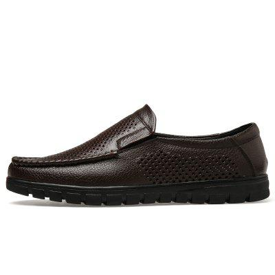 Muhuisen MenS Sandals Casual Leather Summer Shoes Breathable Beach Men FlatsFlats &amp; Loafers<br>Muhuisen MenS Sandals Casual Leather Summer Shoes Breathable Beach Men Flats<br><br>Brand: MUHUISEN<br>Closure Type: Slip-On<br>Contents: 1 x Pair of Shoes<br>Decoration: Hollow Out<br>Function: Slip Resistant<br>Lining Material: PU<br>Materials: Leather<br>Occasion: Hotel Uniforms, Tea Party, Rainy Day, Shopping, Office, Daily, Beach, Holiday, Party, Formal, Casual, Outdoor Clothing<br>Outsole Material: Rubber<br>Package Size ( L x W x H ): 32.00 x 20.00 x 12.00 cm / 12.6 x 7.87 x 4.72 inches<br>Package weight: 0.7000 kg<br>Pattern Type: Solid<br>Product weight: 0.5000 kg<br>Seasons: Spring,Summer,Winter,Autumn<br>Style: Comfortable, Leisure, Business, Fashion, Casual<br>Type: Sandals<br>Upper Material: Leather