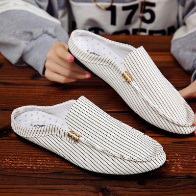Fashion Striped Loafer Style SlippersFlats &amp; Loafers<br>Fashion Striped Loafer Style Slippers<br><br>Available Size: 39 40 41 42 43 44<br>Embellishment: None<br>Gender: For Men<br>Outsole Material: Rubber<br>Package Contents: 1?Shoes(pair)<br>Pattern Type: Striped<br>Season: Summer<br>Slipper Type: Outdoor<br>Style: Leisure<br>Upper Material: Cotton Fabric<br>Weight: 1.0200kg