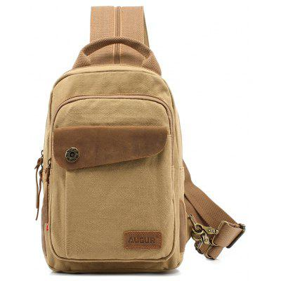 Durable Outdoor Pure Cotton Canvas Small Size Chest Cross Bag for Men -  VERTICAL  LIGHT KHAKI