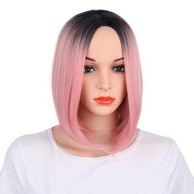 Straight Short Bob Hair Brown Ombre Synthetic Middle Part Wig for European Girl -  12INCH  PINK