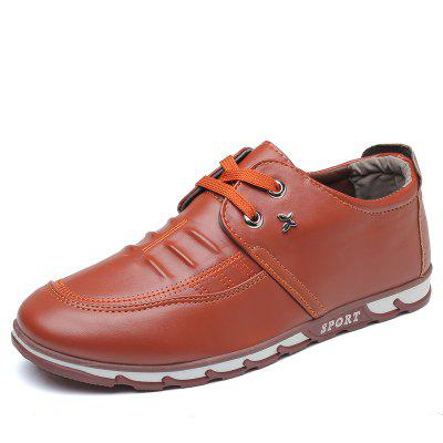Men's Casual Lace British Style Leather Shoes -  43  BROWN